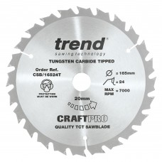 Trend Craft Pro 165mm diameter 20mm bore 24 tooth combination cut thin kerf saw blade for cordless circular saws