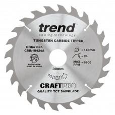 Craft saw blade 184mm x 24 teeth x 30mm