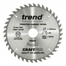 The Craft Pro 190mm diameter 30mm bore 40 tooth general purpose saw blade for hand held circular saws.