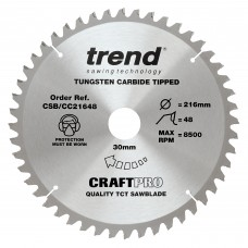 Trend Craft Pro 216mm diameter 30mm bore 48 tooth medium/fine cut saw blade for mitre saws