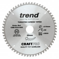 Trend Craft Pro 216mm diameter 30mm bore 60 tooth fine finish cut saw blade for hand held circular saws