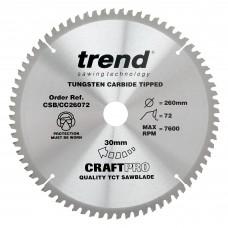 Craft saw blade crosscut 260mm x 72 teeth x 30mm