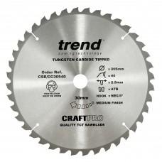 Craft saw blade crosscut 305mm x 40 teeth x 30mm