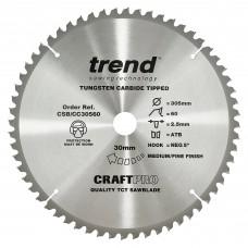 Craft saw blade crosscut 305mm x 60 teeth x 30mm