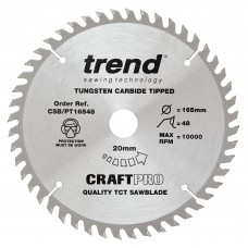 Trend Craft Pro 165mm diameter 20mm bore 48 tooth fine finish cut saw blade for plunge saws